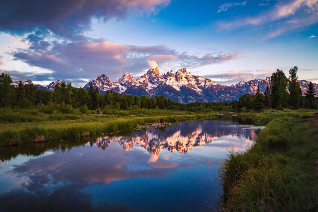 Snake River with Grand Tetons in background